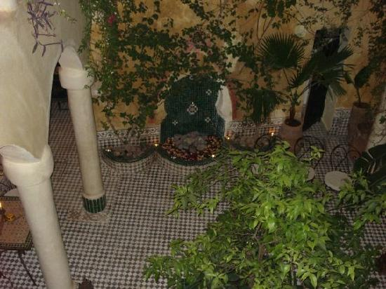 Riad Merstane: looking down to the garden from the room