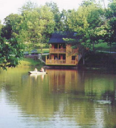 Water's Edge Cabins: Water's Edge Cabin from across the lake