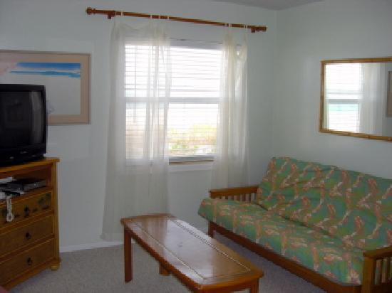 Seafarer Beach Resort: The livingroom with the Futon and TV.  The view from the window is straight to the beach