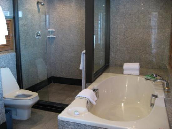 Montien Riverside Hotel: Bathroom in suite has both tub and shower