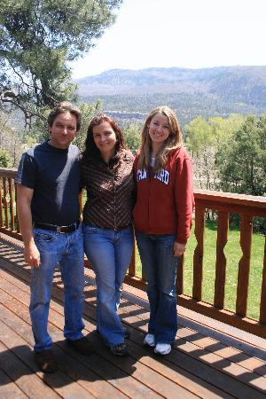 Country Sunshine Bed and Breakfast: Walter, Jodi and my daughter, Rachael, on their back deck.