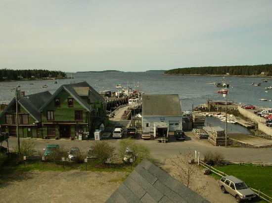 Looking east at the Port Clyde harbor from the cupola on the Seaside Inn