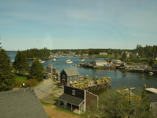 Looking west at Port Clyde village from the cupola on the Seaside Inn