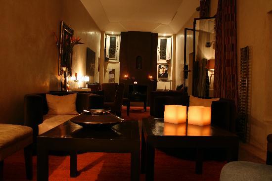 Riad Dar One: The riad's lounge room at night