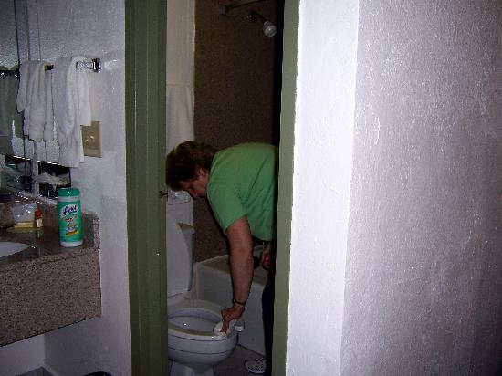 Days Inn Charleston Airport Coliseum: Mom cleaning the toliet before we used it.
