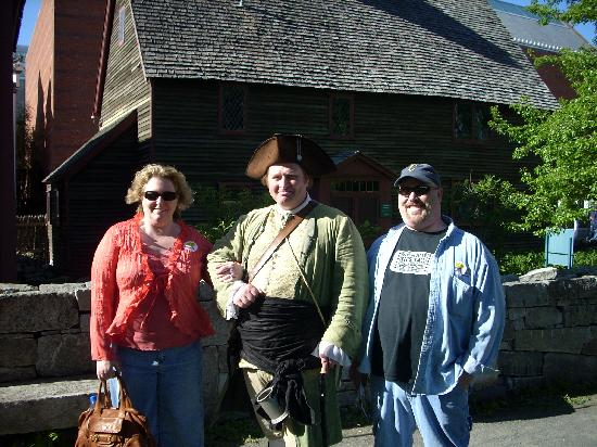Salem Heritage Trail Tour: Me, General Pickering, my husband at the witch memorial
