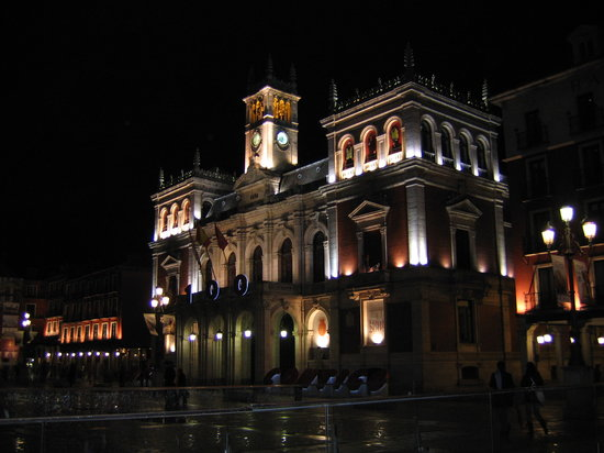 Valladolid, Hiszpania: Plaza mayor di notte