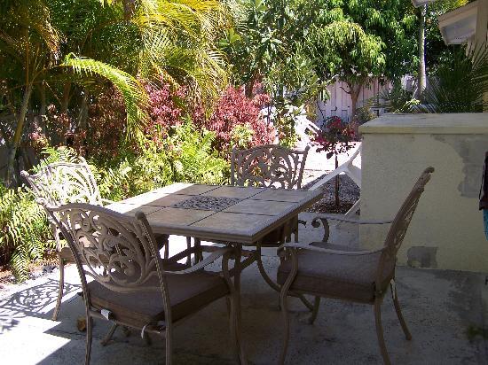 An Island Getaway at Palm Tree Villas: back patio area