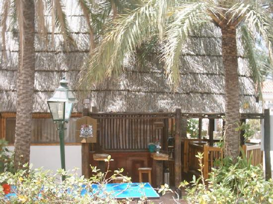 Bungalows El Palmeral: view from terrace of side of the bar