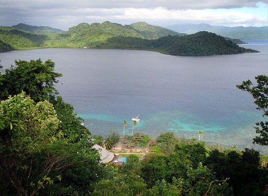 Matangi Island, Fiji: looking over the resort to Matangi Bay
