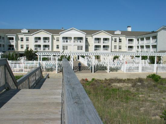 Hampton Inn & Suites Outer Banks / Corolla: looking at hotel from beach