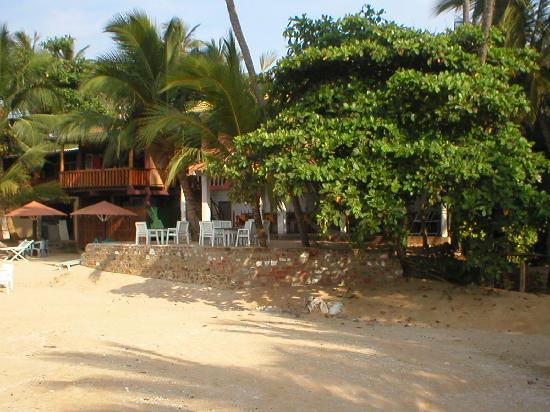 Tangalle, ศรีลังกา: View of the Chalet Guest House from the beach
