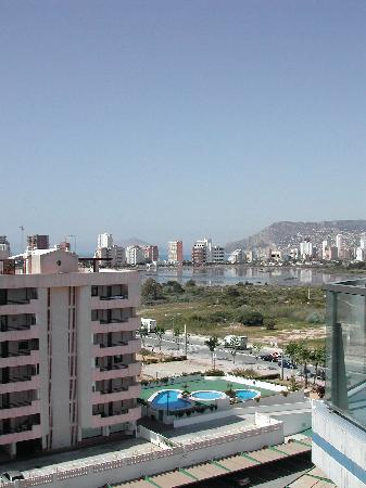 Hipocampos Apartments: View from our balcony looking inlands towards the salt marshes
