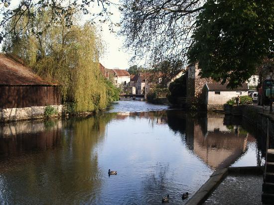 Le Bourguignon: River Beze enters the village Beze