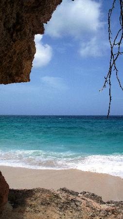 The Ocean Club : view from one of the caves on cupecoy beach