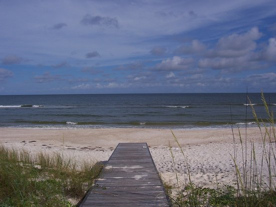Isla de St. George, FL: View of the beach/Gulf from the boardwalk of A Reel Deal.