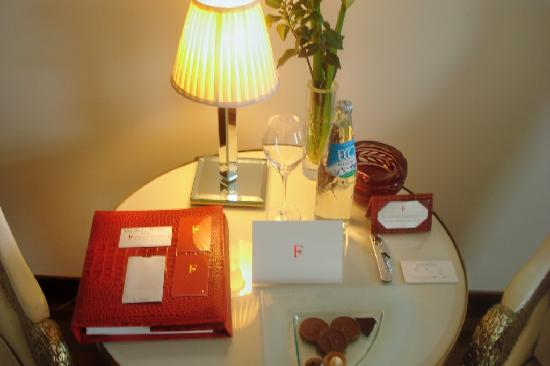 Faena Hotel Buenos Aires: Chocolates and water in the bedroom