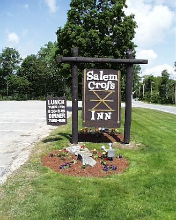 Salem Cross Inn Restaurant and Tavern: The sign featuring the Salem Cross hexmark