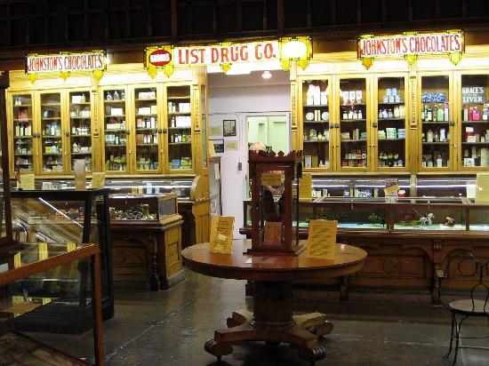 William Clark Market House Museum: Drug store shelves, with medicine still in them