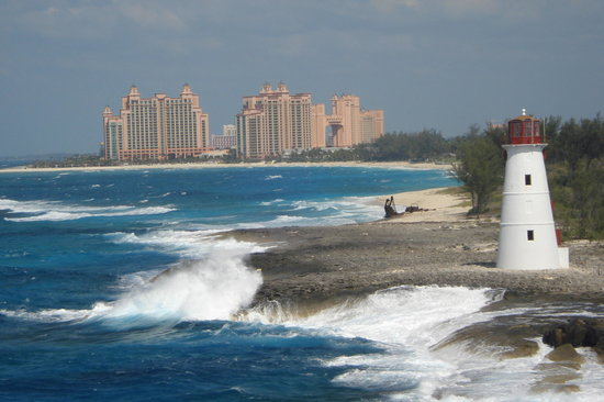 Atlantis from cruise ship entering Nassau harbor
