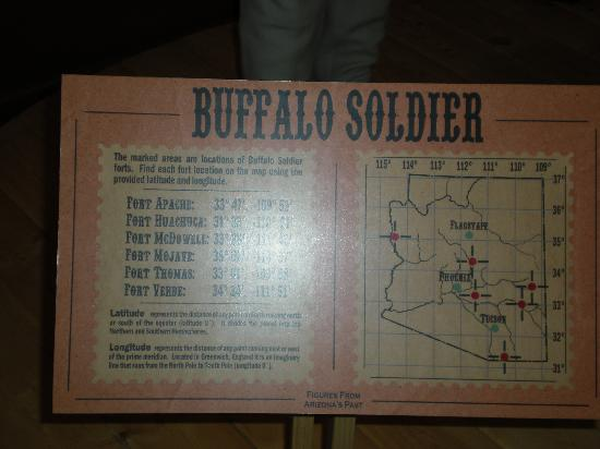 Arizona Capitol Museum: Info accompanying buffalo soldier sculpture
