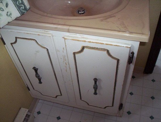 Old Orchard Beach, ME: bathroom sink cupboard