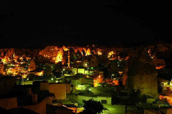 Aydinli Cave Hotel: View from the terrace by night.