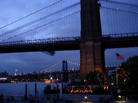 Bargemusic: The Brooklyn and Manhattan bridges seen from the barge