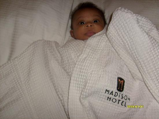 Madison Hotel: my daughter in the hotel robe