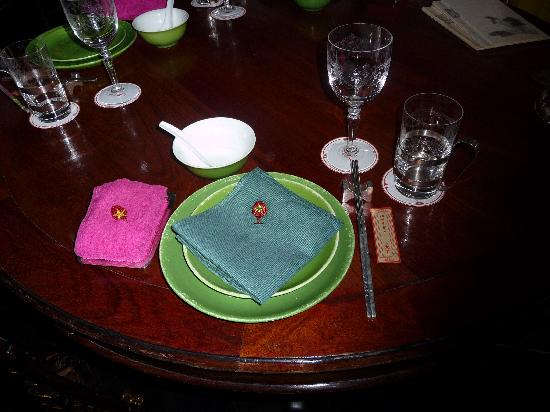China Club: setting of the table
