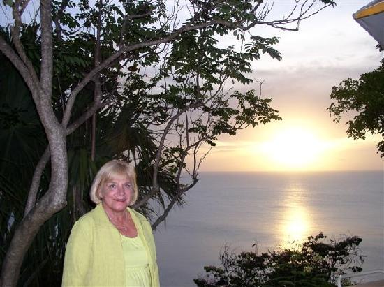 Guana Island: Cousin Sheri at sunset