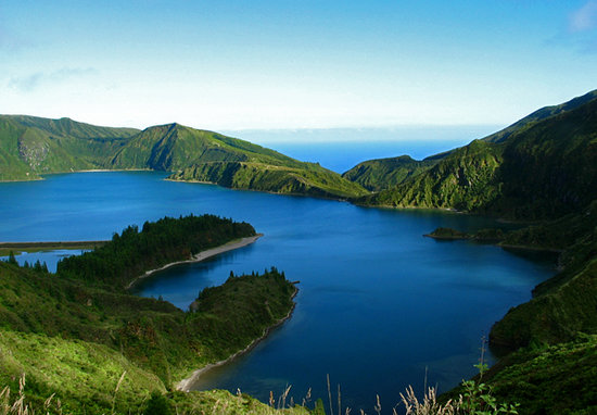 Azores, Portugal: Lake and ocean