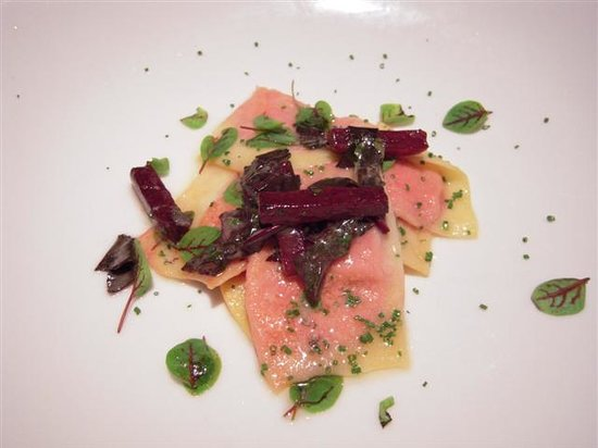 Vidalia Restaurant : Goat Cheese Ravioli with Bull Blood Beets