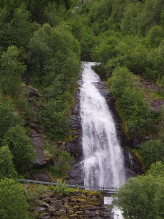 waterfall in the Fjaerland fjord