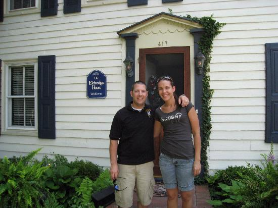 The Eldredge House: My wife and I in front of The Edridge House