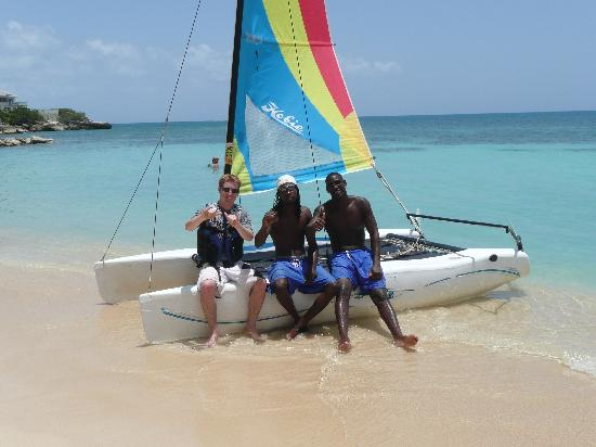 Blue Waters Antigua: With the watersports crew.