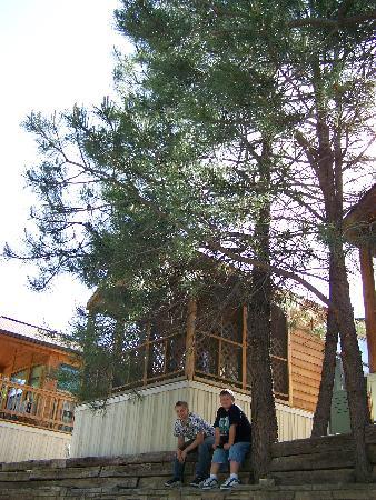 Rainbow Lake Cabin & RV & Resort: Braden & David in front of our cabin