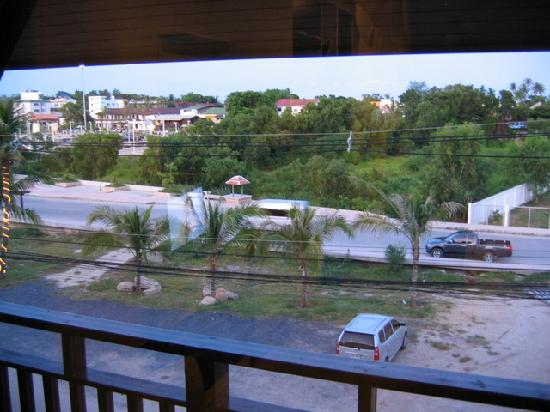 The Laem Din Hotel: View from room, the beach is in the distance...keep looking...you're getting closer...
