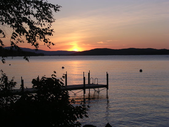 Rangeley, ME : Sunset over the lake.