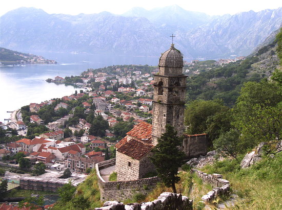 Cattaro, Montenegro: the view from about midway up the walls above Old Town, Kotor