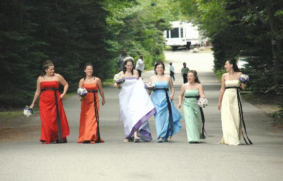 Bar Harbor Campground: Walking to the wedding at BH campground