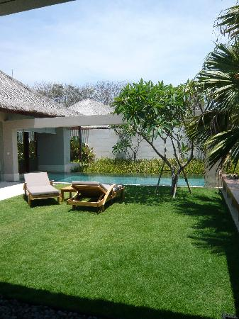 The Bale: A view of the private garden and pool