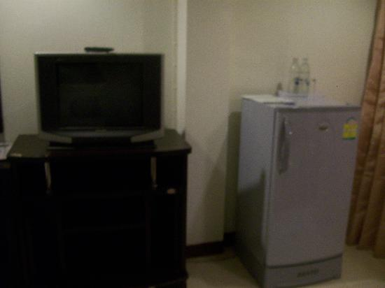 Grand Pinnacle: Refrigerator and TV included (handy!)