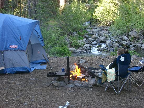 Lassen National Forest, CA: Wife and daughter around the fire pit