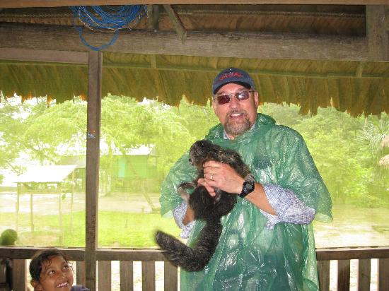 ExplorNapo Lodge: David with monkey on Monkey Island - delightful