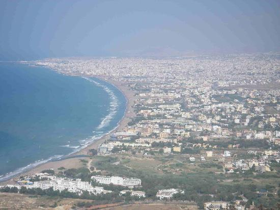 Apollonia Beach Resort & Spa: from on top of a mountain, the resort is the 2nd from the bottom left