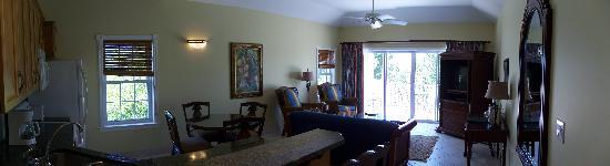 Royal West Indies Resort: Living room of 1BDR Garden view suite