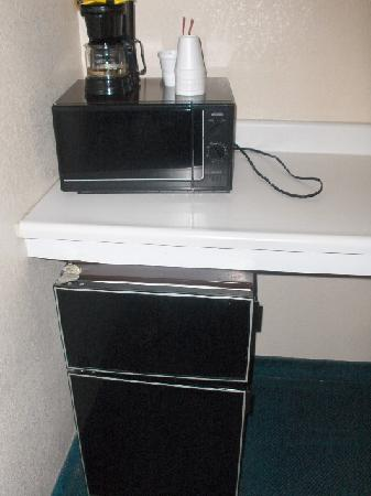 Oak Motel Palo Alto: Close up of fridge and microwave.