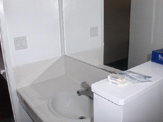 Oak Motel Palo Alto: Bathroom sink with soap, shampoo, and facial tissues.