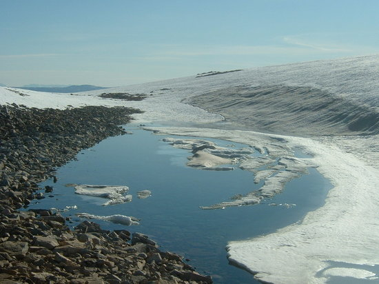 Greenland: A small lake in the ice on one of the glaciers we camped on